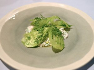 Marinated Kingfish with celery jelly and shaved fennel.