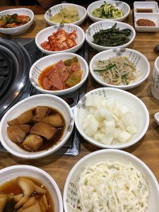The Banchan which accompany the BBQ including Kimchi
